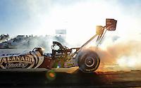 Feb. 17 2012; Chandler, AZ, USA; NHRA top fuel dragster driver Khalid Albalooshi during qualifying for the Arizona Nationals at Firebird International Raceway. Mandatory Credit: Mark J. Rebilas-
