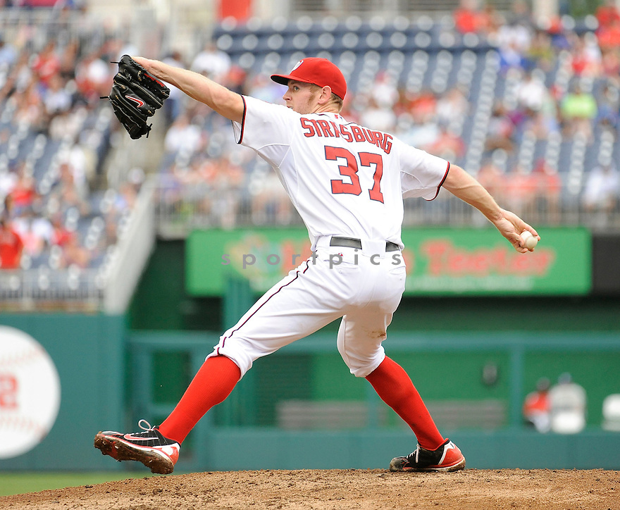 STEPHEN STRASBURG (37), of the Washington Nationals, in action during the Nationals game against the San Diego Padres on May 15, 2012, at Nationals Park in Washington DC. The Padres beat the Nationals 6-1.
