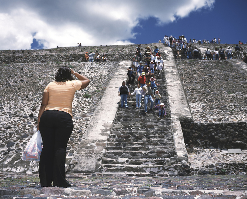 "A lady contemplates the climb up the piramid of the sun in teotihuacan, mexico 2004. Exhibited in the Salon Malafama as part of the ""Vacaciones"" series, Mexico City July, 2006"