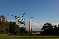 Marine One, with US President Donald J. Trump aboard, lifts off the South Lawn of the White House in Washington, DC, USA, 07 October 2017. President Trump is traveling to  North Carolina for a pair of fund raising events<br /> CAP/MPI/POOL/ST<br /> &copy;ST/POOL/MPI/Capital Pictures