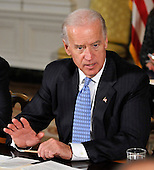 Washington, D.C. - January 4, 2010 -- United States Vice President Joseph Biden makes remarks as he and U.S. President Barack Obama meet with a bipartisan group of Governors from across the country in the State Dining Room to discuss energy policy in Washington, D.C. on Wednesday, February 3, 2010..Credit: Ron Sachs / Pool via CNP
