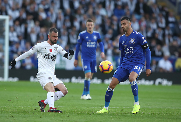 Burnley's Steven Defour and Leicester City's Rachid Ghezzal<br /> <br /> Photographer Rachel Holborn/CameraSport<br /> <br /> The Premier League - Saturday 10th November 2018 - Leicester City v Burnley - King Power Stadium - Leicester<br /> <br /> World Copyright © 2018 CameraSport. All rights reserved. 43 Linden Ave. Countesthorpe. Leicester. England. LE8 5PG - Tel: +44 (0) 116 277 4147 - admin@camerasport.com - www.camerasport.com