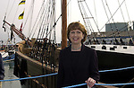 Jeanie Johnston 7-5-00.Her Excellency President Mary McAleece pictured beside the  Jeanie Johnston replica famine ship which is  moored at Fenit Pier in County Kerry yesterday..Picture by Don MacMonagle