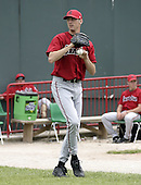 June 6, 2004:  Pitcher Rich Rundles of the Harrisburg Senators, Eastern League (Doube-A) affiliate of the Montreal Expos (Washington Nationals) during a game at Jerry Uht Park in Erie, PA.  Photo by:  Mike Janes/Four Seam Images