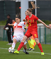 20190403  - Tubize , BELGIUM : Belgian Lisa Petry (R) and  Swiss Luna Lemperiere (L)  pictured during the soccer match between the women under 19 teams of Belgium and Switzerland , on the first matchday in group 2 of the UEFA Women Under19 Elite rounds in Tubize , Belgium. Wednesday 3 th April 2019 . PHOTO DIRK VUYLSTEKE / Sportpix.be