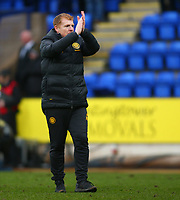 1st March 2020; McDairmid Park, Perth, Perth and Kinross, Scotland; Scottish Premiership Football, St Johnstone versus Celtic; Celtic Manager Neil Lennon applauds the supporters