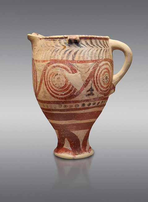 Cycladic spouted cup with floral and net pattern.   Cycladic (1650-1450 BC) , Phylakopi III, Melos. National Archaeological Museum Athens. Cat no 5755.   Grey background.<br /> <br /> <br /> Ceramic shapes and painted style are heavily influenced by Minoan styles during this period. Dark floral and spiral patterns are painted over a lighted backgound with wavy bands.