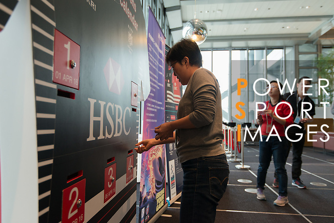 HSBC staffs attending the HK7s Countdown Calendar of Cathy Pacific / HSBC HK7s Tournament week 2016, on 01 April 2016 at HSBC main building in Central, Hong Kong, China. Photo by Kenneth Leung/ Power Sport Images