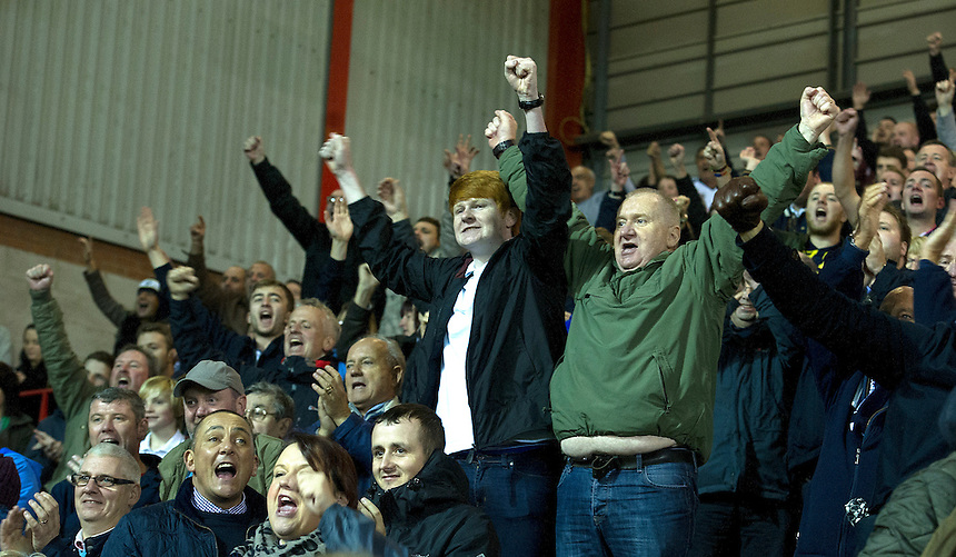 Preston North End fans celebrate their teams 1-0 victory<br /> <br /> Photographer Stephen White/CameraSport<br /> <br /> Football - The Football League Sky Bet League One - Bristol City v Preston North End - Saturday 22nd November 2014 - Ashton Gate - Bristol <br /> <br /> &copy; CameraSport - 43 Linden Ave. Countesthorpe. Leicester. England. LE8 5PG - Tel: +44 (0) 116 277 4147 - admin@camerasport.com - www.camerasport.com