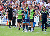 Sam Wood of Wycombe Wanderers takes a drink during the Friendly match between Maidenhead United and Wycombe Wanderers at York Road, Maidenhead, England on 30 July 2016. Photo by Alan  Stanford PRiME Media Images.
