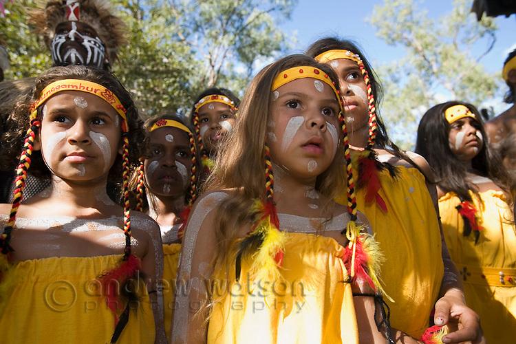 Young indigenous dancers at the Laura Aboriginal Dance Festival.  Laura, Queensland, Australia