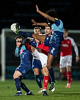 Fleetwood Town's Ched Evans (centre) competing with Wycombe Wanderers' Sido Jombati (right) <br /> <br /> Photographer Andrew Kearns/CameraSport<br /> <br /> The EFL Sky Bet League One - Wycombe Wanderers v Fleetwood Town - Tuesday 11th February 2020 - Adams Park - Wycombe<br /> <br /> World Copyright © 2020 CameraSport. All rights reserved. 43 Linden Ave. Countesthorpe. Leicester. England. LE8 5PG - Tel: +44 (0) 116 277 4147 - admin@camerasport.com - www.camerasport.com
