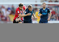 Bristol Rovers' Tony Craig under pressure from Lincoln City's Tyler Walker<br /> <br /> Photographer Rich Linley/CameraSport<br /> <br /> The EFL Sky Bet League One - Lincoln City v Bristol Rovers - Saturday September 14th 2019 - Sincil Bank - Lincoln<br /> <br /> World Copyright © 2019 CameraSport. All rights reserved. 43 Linden Ave. Countesthorpe. Leicester. England. LE8 5PG - Tel: +44 (0) 116 277 4147 - admin@camerasport.com - www.camerasport.com