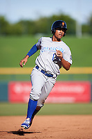 Surprise Saguaros Alfredo Escalera (15), of the Kansas City Royals organization, during a game against the Mesa Solar Sox on October 14, 2016 at Sloan Park in Mesa, Arizona.  Mesa defeated Surprise 10-4.  (Mike Janes/Four Seam Images)