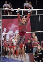 Arkansas' Kennedy Hambrick competes Friday, Feb. 7, 2020, in the bars portion of the Razorbacks' meet with Georgia in Barnhill Arena in Fayetteville. Visit  nwaonline.com/gymbacks/ for a gallery from the meet.<br /> (NWA Democrat-Gazette/Andy Shupe)