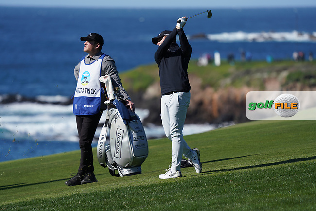 Matthew Fitzpatrick (ENG) in action during the final round of the AT&T Pro-Am, Pebble Beach, Monterey, California, USA. 08/02/2020<br /> Picture: Golffile | Phil Inglis<br /> <br /> <br /> All photo usage must carry mandatory copyright credit (© Golffile | Phil Inglis)