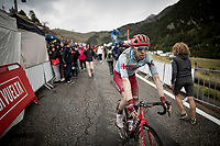 Steff Cras (BEL/Katusha-Alpecin) after finishing the stage where the weather turned foul in the finale<br /> <br /> Stage 9: Andorra la Vella to Cortals d'Encamp (94km) - ANDORRA<br /> La Vuelta 2019<br /> <br /> ©kramon