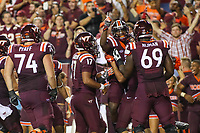 Landover, MD - September 3, 2017: Virginia Tech Hokies wide receiver Cam Phillips (5) celebrates with teammates after scoring a touchdown during game between Virginia Tech and WVA at  FedEx Field in Landover, MD.  (Photo by Elliott Brown/Media Images International)