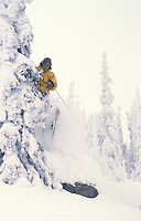 Skiing the tress at Red Mountain, Rossland, BC