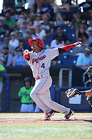 Cristian Inoa (4) of the Spokane Indians bats against the Hillsboro Hops at Ron Tonkin Field on July 23, 2017 in Hillsboro, Oregon. Spokane defeated Hillsboro, 5-3. (Larry Goren/Four Seam Images)