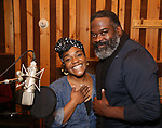 Kenita R. Miller and Phillip Boykin from cast of the Broadway revival of 'Once on This Island' in the recording studio for the new Broadway cast recording with Broadway Records at Power Station on December 21, 2017 in New York City.