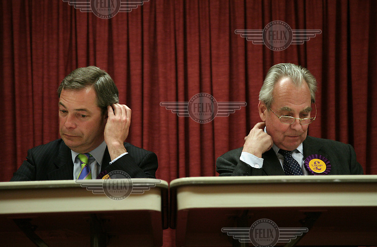 UKIP candidate Nigel Farage and party leader Lord Pearson at a meeting in Buckinghamshire during the general election campaign.