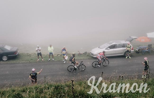 Thomas Voeckler (FRA/Direct Energie) &amp; Nicolas Edet (FRA/Cofidis) up the Port de Bal&egrave;s (HC/1755m/11.7km/7.7%)<br /> <br /> 104th Tour de France 2017<br /> Stage 12 - Pau &rsaquo; Peyragudes (214km)