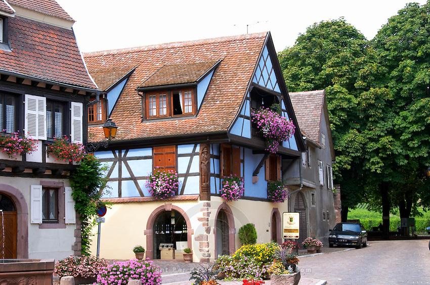 blue half timbered house kientzheim alsace france