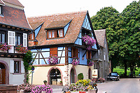blue half timbered house kientzheim alsace france