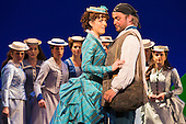 """London, UK. 7 May 2015. Claudia Boyle as Mabel and Robert Murray as Frederic. Dress rehearsal of the Gilbert and Sullivan comic opera """"The Pirates of Penzance"""" at the London Coliseum. Award winning director Mike Leigh makes his operatic directing debut with The Pirates of Penzance. The ENO production opens at the London Coliseum on 9 May 2015 and runs for 14 productions until 27 June 2015. The English National Opera production is conducted by David Parry. Cast: Andrew Shore as Major-General Stanley, Joshua Bloom as The Pirate King, Alexander Robin Baker as Samuel, Robert Murray as Frederic, the Pirate Apprentice, Jonathan Lemalu as Sergeant of the Police, Claudia Boyle as Mabel, Soraya Mafi as Edith, Angharad Lyddon as Kate, Lydia Marchione as Isabel and Rebecca de Pont Davies as Ruth. Photo: Bettina Strenske"""
