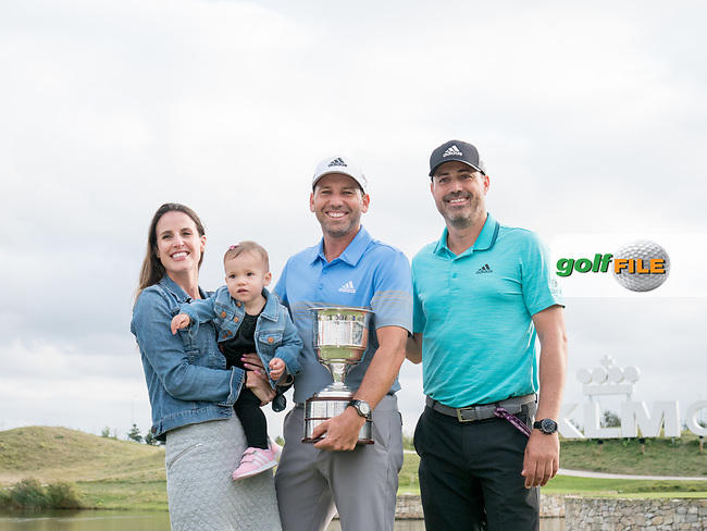 Sergio Garcia (ESP) and his family during prize giving on the 18th green during the final round at the KLM Open, The International, Amsterdam, Badhoevedorp, Netherlands. 15/09/19.<br /> Picture Stefano Di Maria / Golffile.ie<br /> <br /> All photo usage must carry mandatory copyright credit (© Golffile | Stefano Di Maria)