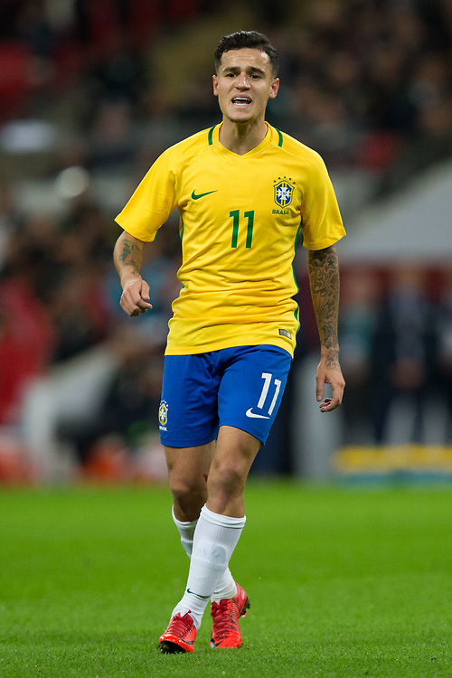 Brazil&rsquo;s Philippe Coutinho <br /> <br /> Photographer Craig Mercer/CameraSport<br /> <br /> The Bobby Moore Fund International - England v Brazil - Tuesday 14th November 2017 Wembley Stadium - London  <br /> <br /> World Copyright &copy; 2017 CameraSport. All rights reserved. 43 Linden Ave. Countesthorpe. Leicester. England. LE8 5PG - Tel: +44 (0) 116 277 4147 - admin@camerasport.com - www.camerasport.com
