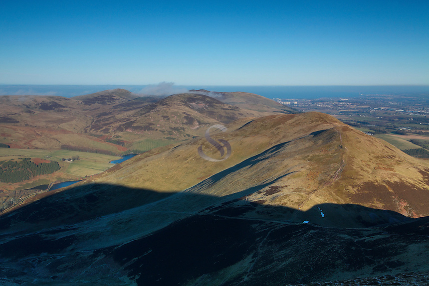 Capelaw, Caerketton, Allermuir Hill, Castle Law, Turnhouse Hill, Glencorse and Edinburgh from Carnethy Hill, The Pentland Hills, Lothian<br /> <br /> Copyright www.scottishhorizons.co.uk/Keith Fergus 2011 All Rights Reserved
