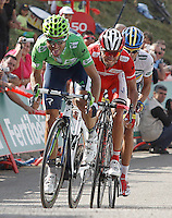 Alejandro Valverde, Joaquin Purito Rodriguez and Alberto Contador during the stage of La Vuelta 2012 between La Robla and Lagos de Covadonga.September 2,2012. (ALTERPHOTOS/Acero) /NortePhoto.com<br /> <br /> **CREDITO*OBLIGATORIO** <br /> *No*Venta*A*Terceros*<br /> *No*Sale*So*third*<br /> *** No*Se*Permite*Hacer*Archivo**<br /> *No*Sale*So*third*