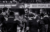 France's Yoann Maestri talks to his teammates during warmup for the Steinlager Series international rugby match between the New Zealand All Blacks and France at Forsyth Barr Stadium in Wellington, New Zealand on Saturday, 23 June 2018. Photo: Dave Lintott / lintottphoto.co.nz