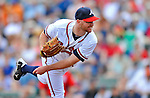 6 March 2012: Atlanta Braves pitcher Jonny Venters in action during a Spring Training game against the Washington Nationals at Champion Park in Disney's Wide World of Sports Complex, Orlando, Florida. The Nationals defeated the Braves 5-2 in Grapefruit League action. Mandatory Credit: Ed Wolfstein Photo