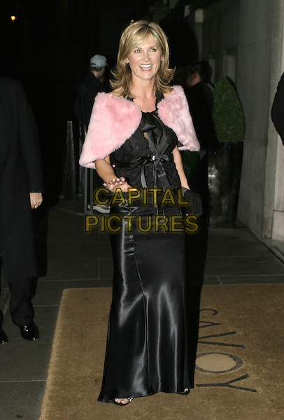 ANTHEA TURNER.Carol Keating Memorial Dinner, Savoy Hotel, London, October 4th 2004..full length black dress pink fur wrap stole cape.Ref: AH.www.capitalpictures.com.sales@capitalpictures.com.©Capital Pictures.