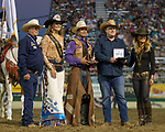 Cody DeMosswon the Saddle Bronc event during the Reno Rodeo in Reno, Nevada on Sunday, June 17, 2018.