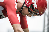 A focused Tim Wellens (BEL/Lotto Soudal) seconds before his ITT start. <br /> <br /> Binckbank Tour 2017 (UCI World Tour)<br /> Stage 2: ITT Voorburg (NL) 9km