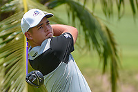 Brentt SALAS (GUM) watches his tee shot on 2 during Rd 1 of the Asia-Pacific Amateur Championship, Sentosa Golf Club, Singapore. 10/4/2018.<br /> Picture: Golffile | Ken Murray<br /> <br /> <br /> All photo usage must carry mandatory copyright credit (&copy; Golffile | Ken Murray)