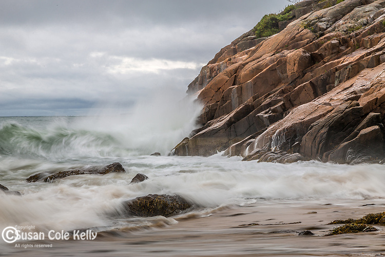 Storm waves at Sand Beach in Acadia National Park, Maine, USA