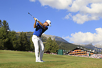 Lucas Bjerregaard (DEN) plays his 2nd shot on the 18th hole during Sunday's Final Round 4 of the 2018 Omega European Masters, held at the Golf Club Crans-Sur-Sierre, Crans Montana, Switzerland. 9th September 2018.<br /> Picture: Eoin Clarke | Golffile<br /> <br /> <br /> All photos usage must carry mandatory copyright credit (© Golffile | Eoin Clarke)