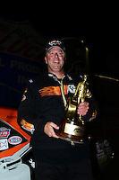 Sept. 16, 2012; Concord, NC, USA: NHRA stock driver Dan Fletcher celebrates after winning the O'Reilly Auto Parts Nationals at zMax Dragway. Mandatory Credit: Mark J. Rebilas-