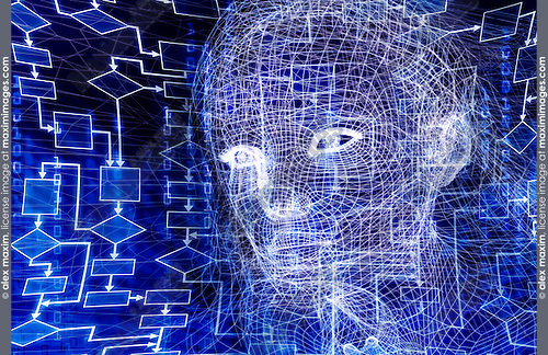 Woman digital wireframe face conceptual 3D illustration with a flow chart and binary code on dark blue background