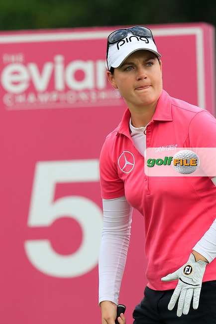 Caroline Masson (GER) on the par3 5th tee during Friday's Round 2 of the LPGA 2015 Evian Championship, held at the Evian Resort Golf Club, Evian les Bains, France. 11th September 2015.<br /> Picture Eoin Clarke | Golffile
