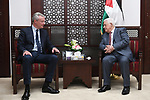 Palestinian President Mahmoud Abbas meets with French Minister of Economy and Finance Bruno Limer in the West Bank city of Ramallah, on Sept. 4, 2017. Photo by Osama Falah