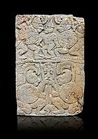 Pictures & images of the North Gate Hittite sculpture stele depicting soldiers. 8the century BC.  Karatepe Aslantas Open-Air Museum (Karatepe-Aslantaş Açık Hava Müzesi), Osmaniye Province, Turkey. Against black background