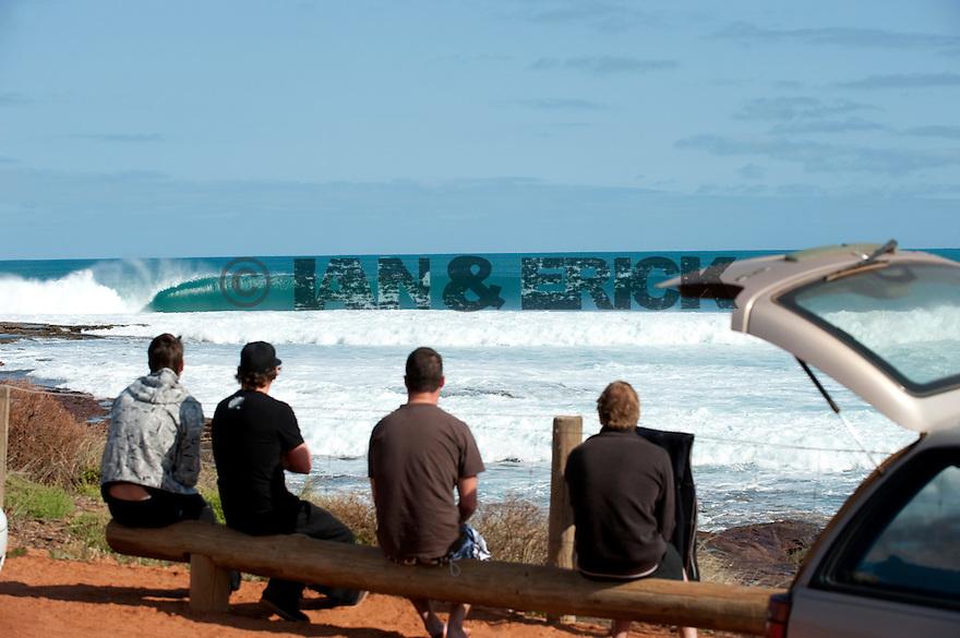 Cortney Brown, Ry Craike, Kerby Brown and Friend watching the Line up of Jake Pt in Kalbarri, Western Australia.