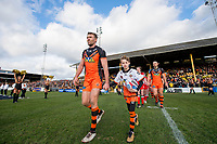 Picture by Allan McKenzie/SWpix.com - 11/02/2018 - Rugby League - Betfred Super League - Castleford Tigers v Widnes Vikings - the Mend A Hose Jungle, Castleford, England - Michael Shenton leads Castleford onto the field.