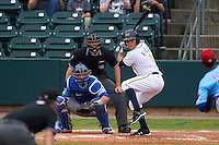 Montgomery Biscuits outfielder Johnny Field (1) at bat in front of catcher Kyle Schwarber and umpire Alex Ransom during a game against the Tennessee Smokies on May 25, 2015 at Riverwalk Stadium in Montgomery, Alabama.  Tennessee defeated Montgomery 6-3 as the game was called after eight innings due to rain.  (Mike Janes/Four Seam Images)